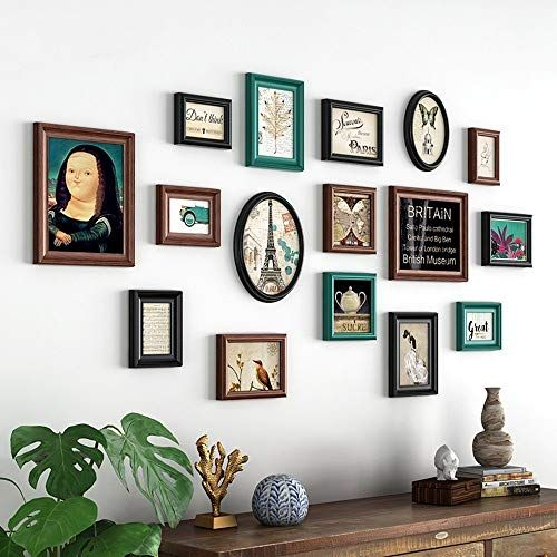 Picture Frames Set Photo Wall Decorative Photo Frame Hanging Wall Combination Living Room Bedroom Retro Creative In 2020 Photo Frame Wall Frames On Wall Photo On Wood
