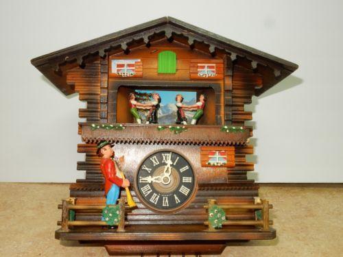Rare Schmeckenbecher Black Forest Cuckoo Clock Trumpeter Dancers Musical Germany Cuckoo Clock Clock Black Forest