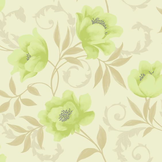 K2 vintage feature wallpaper lime cream 10581 at for Lime green kitchen wallpaper