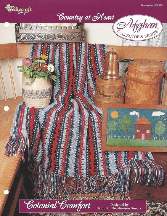 👱🏼 Crochê listra afegão Padrão Decoração do lar Malha itens decorativos Criações -  /   👱🏼 Crochet Stripe Afghan Pattern Home Décor  Knit Knacks Creations -