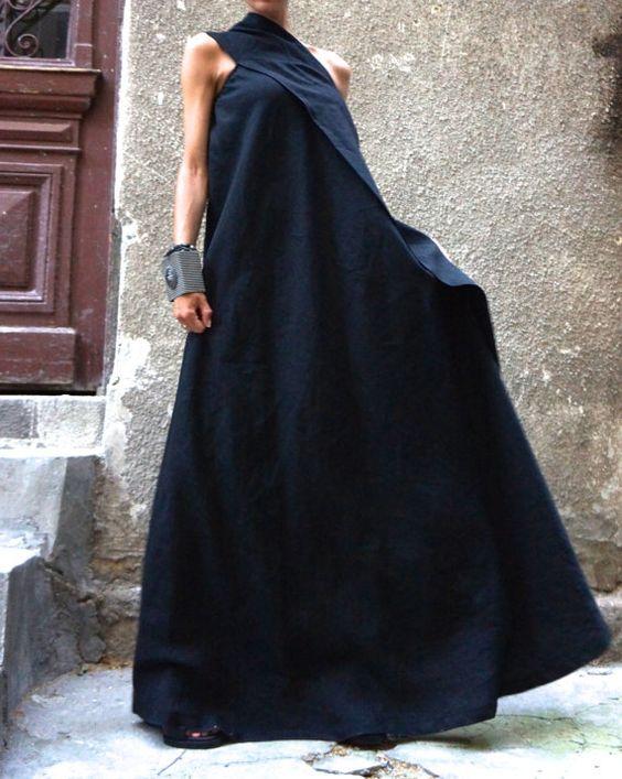 XXL, XXXL Maxi robe / caftan robe lin noire / une épaule robe / Extravagant robe longue / Party Dress / robe de vêtements de jour A03144