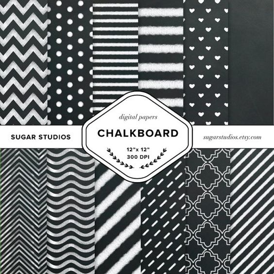 Chalkboard 12 Piece Digital Scrapbook Paper Mega by sugarstudios $3.99