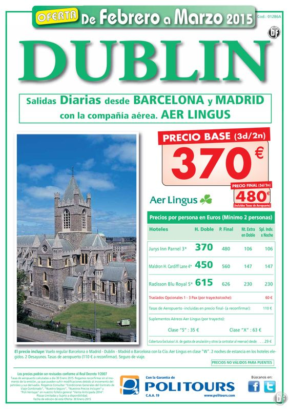 DUBLIN, salidas del 10 al 31 de Marzo desde Madrid y Barcelona(3d/2n) precio final 480€ ultimo minuto - http://zocotours.com/dublin-salidas-del-10-al-31-de-marzo-desde-madrid-y-barcelona3d2n-precio-final-480e-ultimo-minuto/