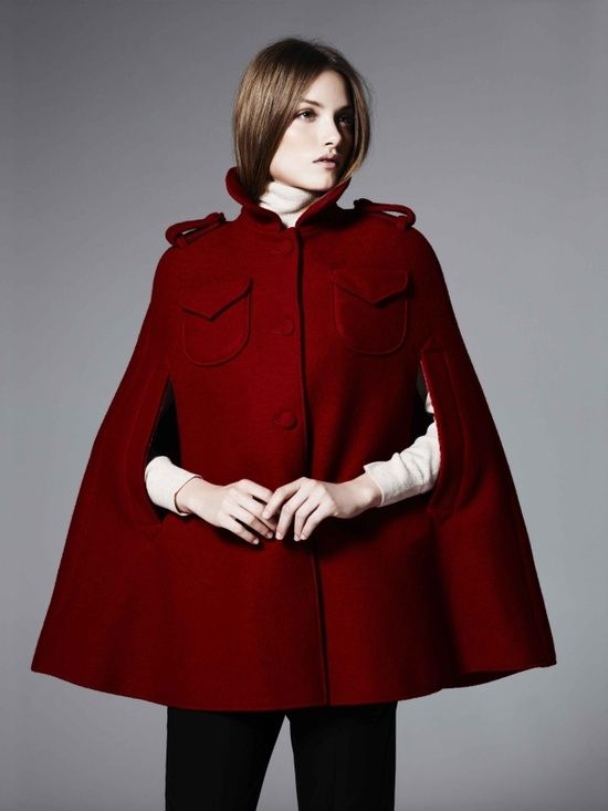 Boutique by Jaeger - Red Cape Coat   dress it up   blazers