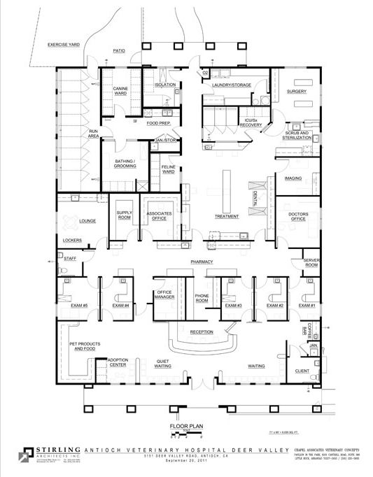 awesome kennel building design plans #6: This is similar to what I am imagining for my kennels, but with only one  exam room and many more dog kennels. I wouldnu0027t need an ICU room either |  Pinterest ...