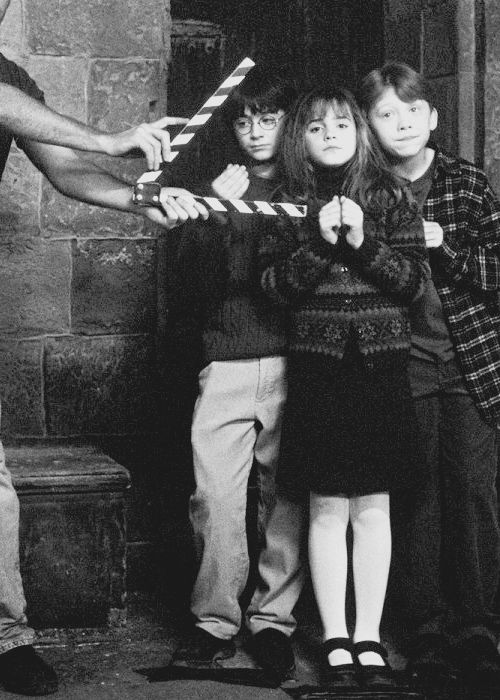 The trio filming Harry Potter ~ Harry Potter and the Sorcerer's Stone