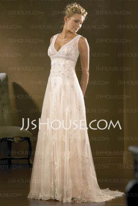 Charming A-Line/Princess V-neck Chapel Train Satin Tulle Wedding Dress with Lace Beadwork (002000313) - JJsHouse.com