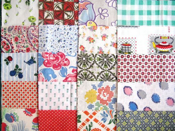 Vintage Feedsack Fabric 20 10inch Squares by QuiltyMcQuilterson, $35.00