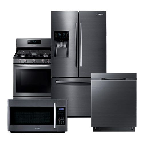 Samsung Black Stainless Steel Suite Refrigerator Range Microwave Black Appliances Kitchen Black Stainless Steel Kitchen Stainless Steel Kitchen Appliances