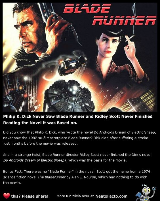 Philip K. Dick Never Saw Blade Runner and Ridley Scott Never Finished Reading the Novel it was Based on