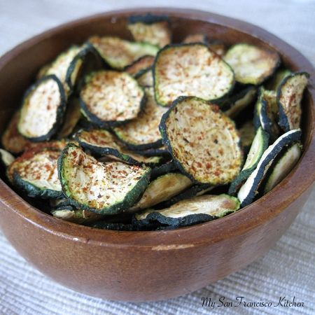 Baked Organic Zucchini Chips | My San Francisco Kitchen.  Tried these.  I baked them for at 450 for about 10 minutes and then turned the oven down to 225 and checked on them in 5 minute intervals.