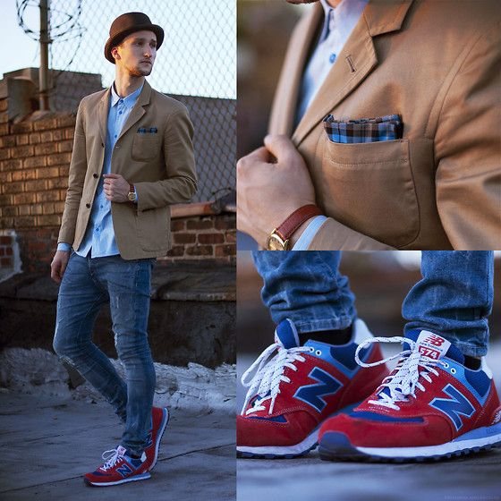 new balance 574 mens red blazer