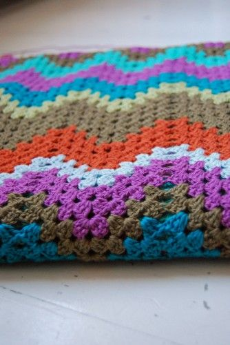 Chevron Child Blanket crocheted by Studio soil