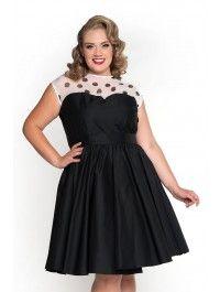 Lolita Dress in Black and White Polka Dot - Plus Size