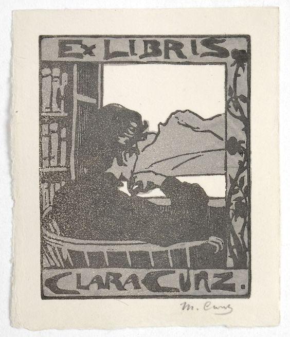 Martha Cunz (1876-1961).  Ex Libris Clara Cunz, Holzschnitt, 12,7 cm x 10,6 cm.
