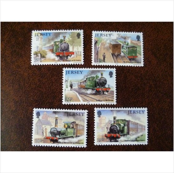 Jersey 1985 Railway History Trains Corbiere set mint postage stamps GB SG365-9