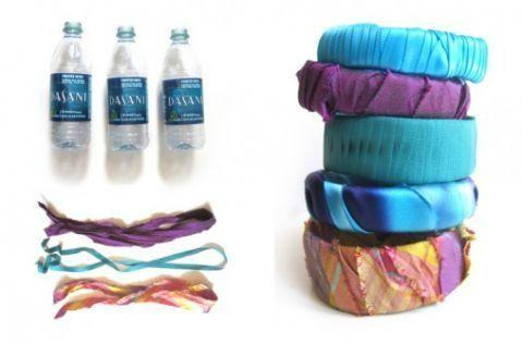 bracelet tissu et bouteille pet