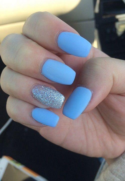 40 Cute Nail Design Ideas 2018 With Images Blue Matte Nails
