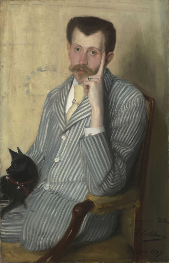 Jacques-Emile Blanche, 1861-1942. Potrait of Georges Porto-Riche, Oil on canvas, 100 cm x 65 cm. Signed, dated and dedicated lower-right 'à mon ami Rodin / J. E. Blanche / Dieppe 1889'.     http://commons.wikimedia.org/wiki/File:Georges_Porto-Riche_by_Jacques-Emile_Blanche_(1889,_priv.coll).jpg: