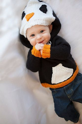 Happy Penguin Hoodie Sweater - Child's pullover sweater in sizes Newborn (3 months, 6 months, 9 months, 12 months) 2, 4, 6, 8, 10 years. Designed by Jessica Anderson so the hood looks like the penguin's head while pocket panel in the front is colored white like a penguin's breast. More penguin knitting patterns at http://intheloopknitting.com/penguin-knitting-patterns/
