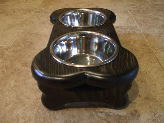 Perro levantado alimentador 1 Pt 4 pulgadas doble por WoodinYou