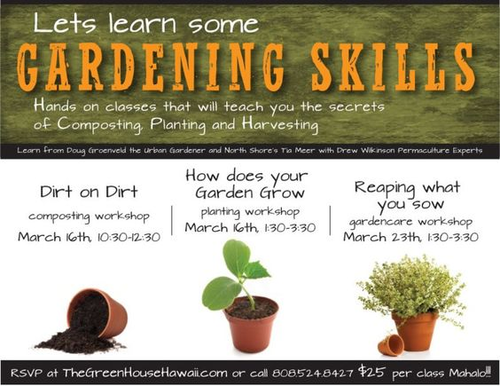Honolulu HI Learn basic gardening skills with three classes at
