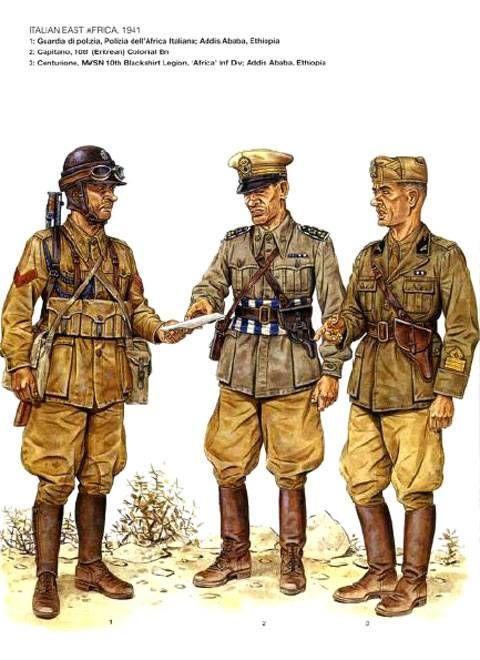 """Regio Esercito e MSVN in Africa Orientale,1941 - 1 Guardia di Polizia, P.A.I., Addis Abeba - Capitano. 10° Battaglione Eritreo - Centurione, MSVN 10a Legione Camicie Nere, Divisione di Fanteria """"Africa"""", Addis Abeba"""