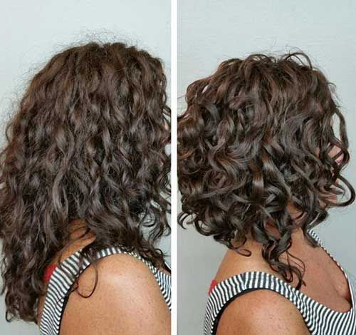 Long bob curly locken