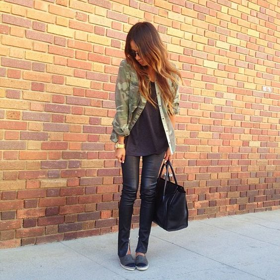 leather pants, black tee, camo jacket