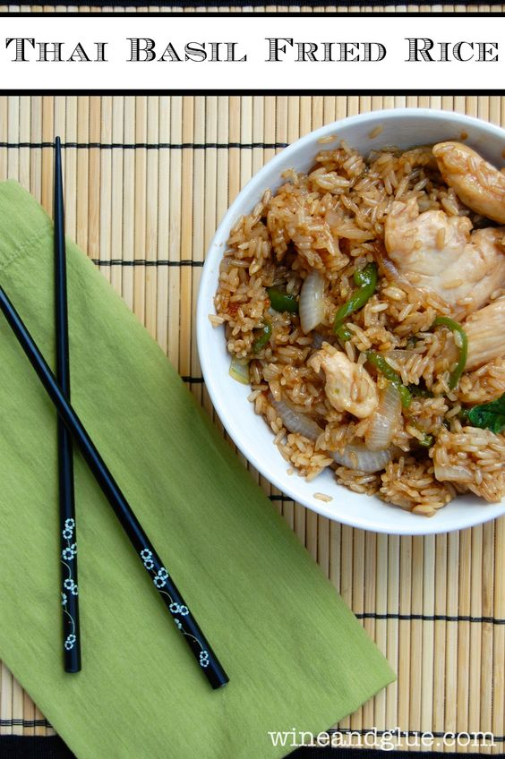 Spicy Thai Basil Fried Rice that is absolutely delicious! via www.wineandglue.com