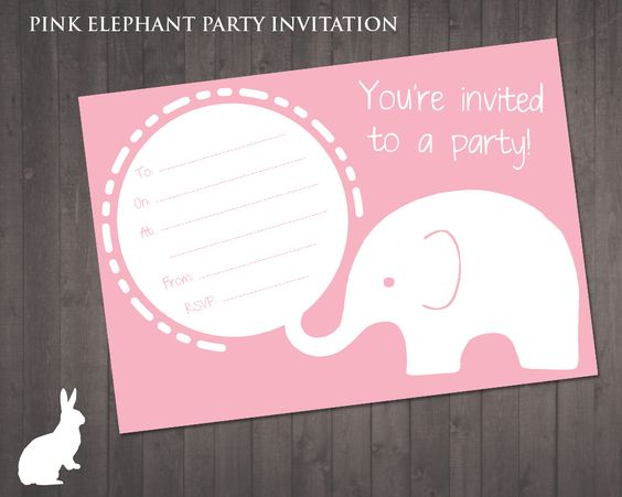 FREE Pink Elephant Party Invitation: