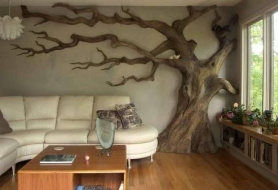 geweldig zo'n boom in de woonkamer