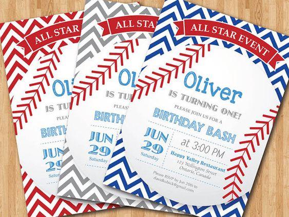 Baseball Birthday Invitation. First Birthday Baby Boy chevron invites. Gray, Blue, Red, Any Color. All Star Event. DIY digital printable on Etsy, $10.00