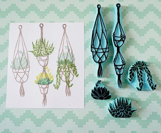 Macrame suspensión colección sello de goma, sellos tallados a mano, suculentas, suspensión de planta, amante de planta, primavera: