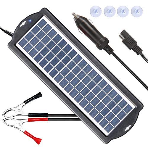 Powiser 3 5w Solar Battery Charger 12v Solar Powered Battery Maintainer Charger Suitable For Automoti Solar Battery Charger Solar Battery Solar Panel Charger