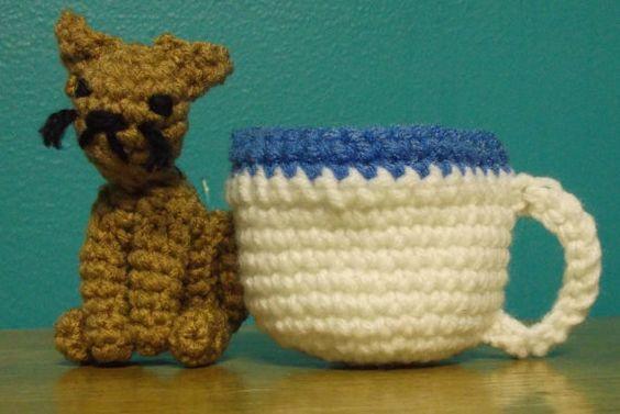 Crochet Teacup Cat Amigurumi by SalemsShop on Etsy, $16.00