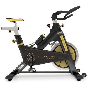 Indoor Cycles  MATRIX LIVESTRONG® E SERIES CYCLE    The E Series has an eye-catching high gloss black steel frame with zinc oxide coating and polyester powder coating with attractive yellow decals.