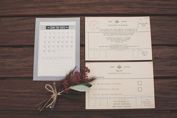 Wedding stationary in the style of a vintage telegram | Photography by http://www.nickrosephotography.com/