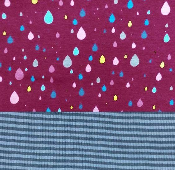 Stoffpaket Jersey Rainfall + Ringelbündchen, von MarieDory-am liebsten selbst genäht auf DaWanda.com
