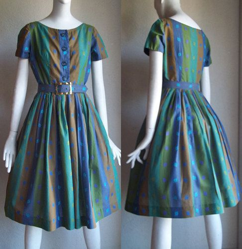 Vintage 50s Betty Barclay Shirtwaist Day House by funquejunque, $75.00