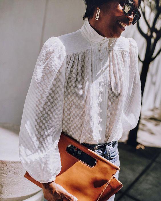 zimmerman blouse / clare vivier clutch