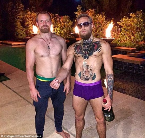 Conor McGregor (right) posts a 'toast' to the arrival of his 'Viking brother' and Straight...