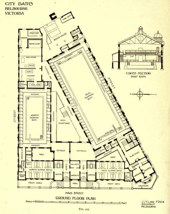 Plan of the City Baths Melbourne Architectural Plans