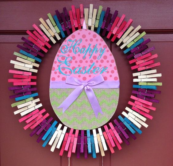 Pink Easter by ThreeDogWreaths on Etsy