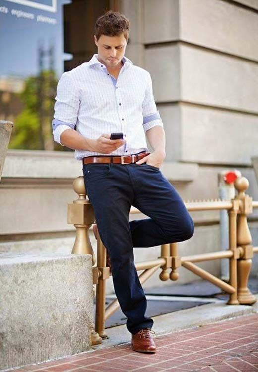 Men S Fashion Brown And Blue Outfits 2018 Smart Casual Dress