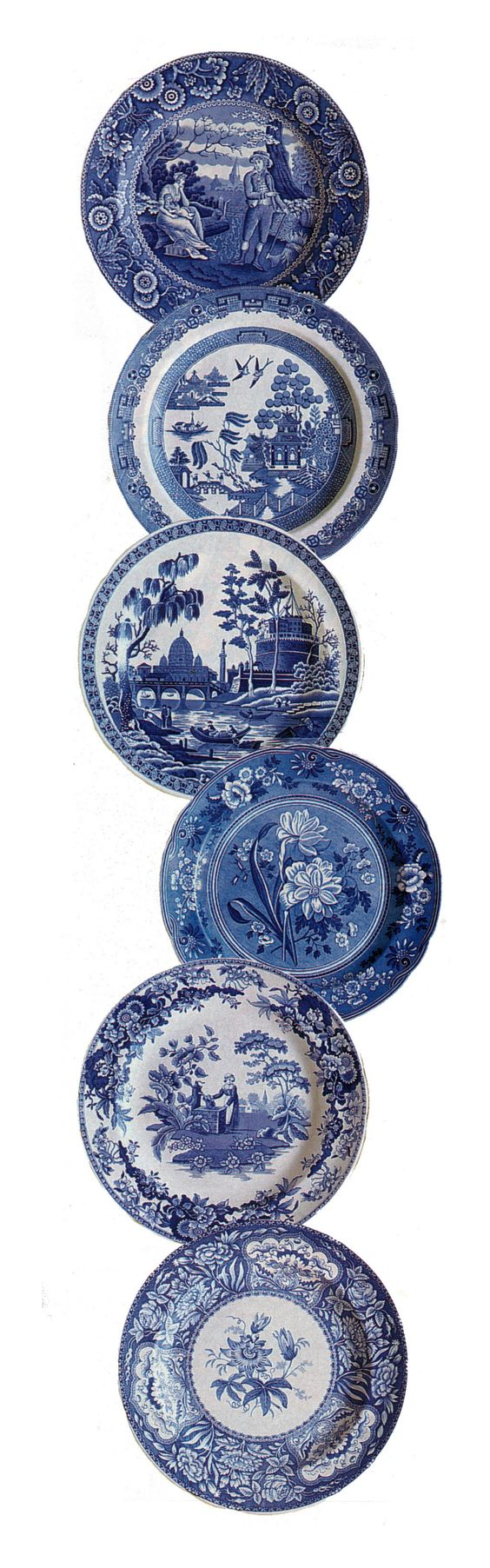 "Spode Blue Room Collection Plates - Patterns: Woodman 1815, Willow 1790, Rome 1811, Botanical 1830, Girl at the Well 1822, and Floral 1830, each 10.25"", made in England"