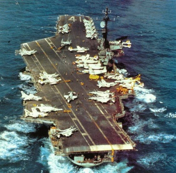 USS Midway (CVA-41) on a WestPac cruise in the western Pacific, Nov 1974. CVW-5 embarked.