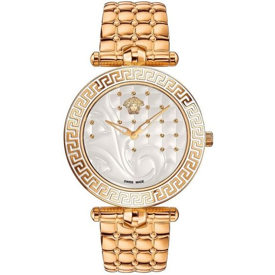 Versace Vanitas Swiss Movement Gold Plated Stainless Steel Studded... (£1,499) ❤ liked on Polyvore featuring jewelry, watches, bezel watches, chunky watches, versace jewelry, dial watches and versace