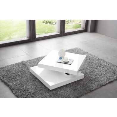 Table basse carr e plateau pivotant design blanc laqu table basse pint - Table basse plateau pivotant ...