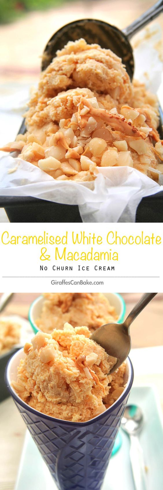 Caramelised White Chocolate and Macadamia Ice Cream by Giraffes Can Bake - Decadent caramelised white chocolate stirred into a no churn homemade ice with toasted macadamias. The perfect dessert this summer